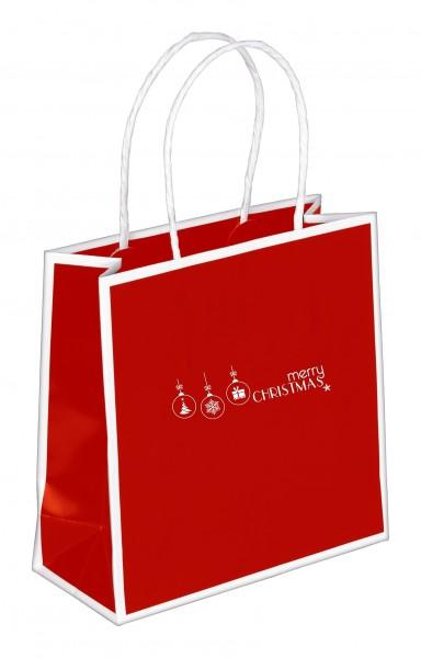 """Weihnachts - Tragetaschen Caro """"Weihnachtskugeln"""" rot/weiß"""