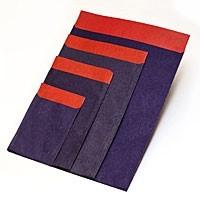 Flachbeutel - Kraftpapier blau-rot T2