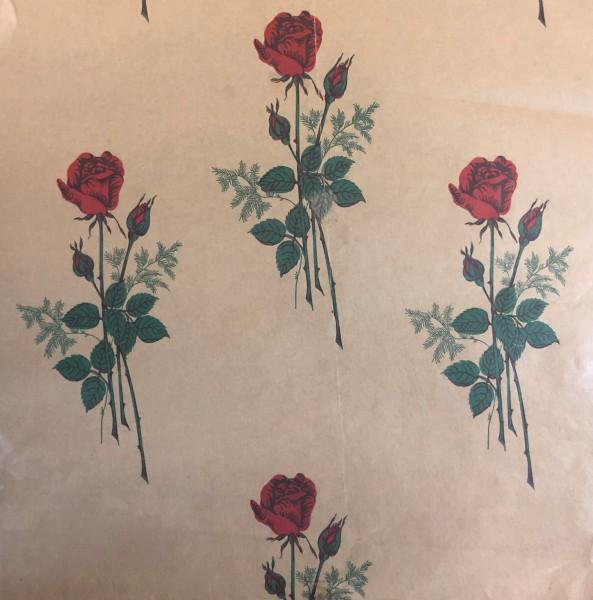 "Rollen - Einschlagpapier natur ""Rosen"""