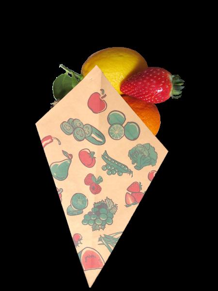 """Obst - Spitztüten braun Natron """"Früchte"""" - Nr. 12"""