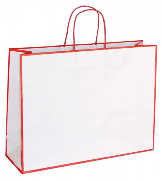 Caro - Papiertragetaschen Farbe: weiß/rot