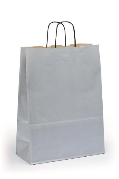 Papiertragetaschen Toptwist Vollfläche silber